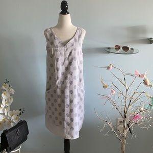 Polkadots white&black short sleeveless dress